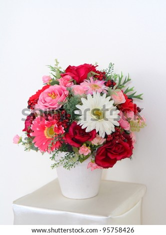 Bouquet of beautiful flowers in vase - stock photo