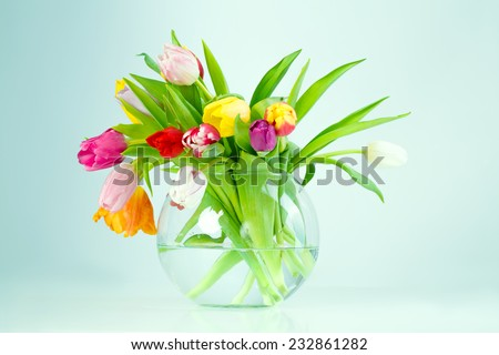 Bouquet of beautiful fresh pink tulips, spring, easter flowers. - stock photo