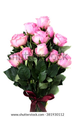 Bouquet of Beautiful Pink Roses on White Isolated Background, shallow DOF, selective focus - stock photo