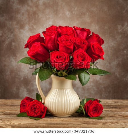 Bouquet of beautiful roses in a jar.