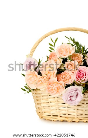 Bouquet of beautiful roses isolated on a white - stock photo