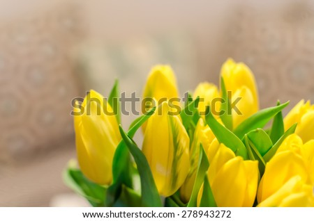 Bouquet of beautiful spring yellow colorful blurry defocused tulips on bokeh background. Lovely season sunny flowers with soft color and selective focus with place for text message. - stock photo