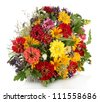 bouquet of beautiful summer flowers, isolated on white - stock photo