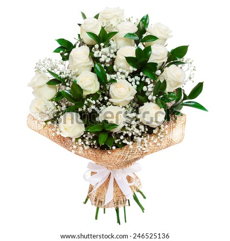 Bouquet of beautiful white roses isolated on white. A great gift to a woman for an anniversary, birthday, valentine's day or wedding - stock photo