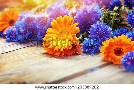 bouquet of blue cornflowers and  calendula on wooden board against the sunlight - stock photo