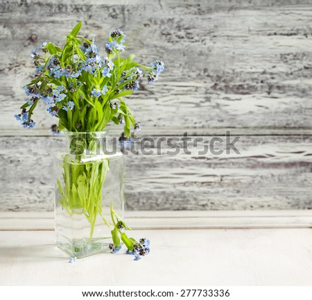 Bouquet of blue wild forget-me-not flowers