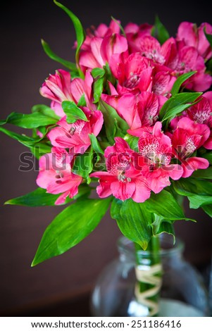 bouquet of bright pink flowers of alstromeria (Peruvian Lily) - stock photo