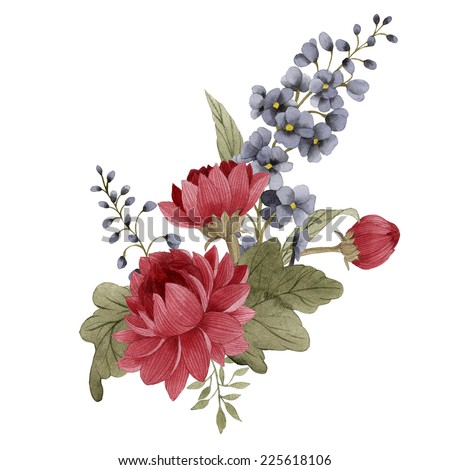 Bouquet of chrysanthemum and delphinium, watercolor, can be used as greeting card, invitation card for wedding, birthday and other holiday and  summer background - stock photo