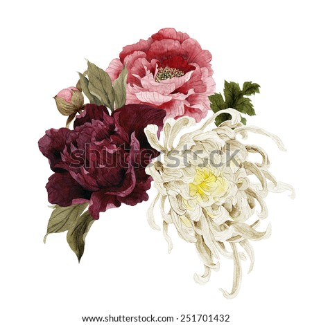 Bouquet of chrysanthemum and peonies, watercolor, can be used as greeting card, invitation card for wedding, birthday and other holiday and  summer background