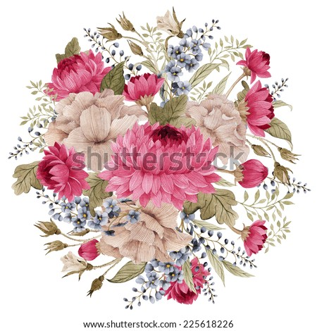 Bouquet of chrysanthemum and roses, watercolor, can be used as greeting card, invitation card for wedding, birthday and other holiday and  summer background - stock photo