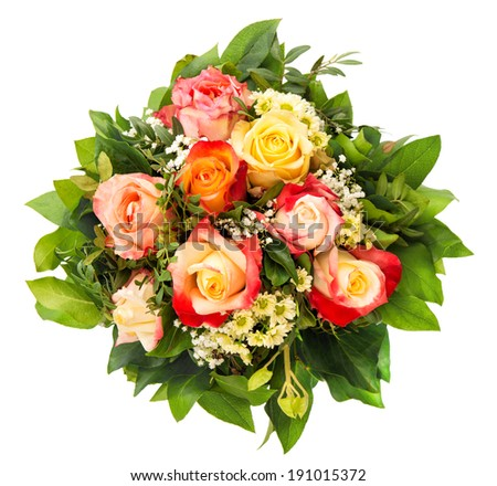 bouquet of colorful assorted roses isolated on white background - stock photo