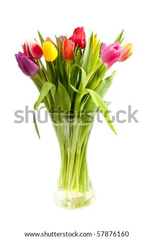 Bouquet Colorful Dutch Tulips Vase Over Stock Photo Edit Now