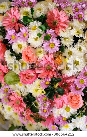 bouquet of colorful flowers abstract background