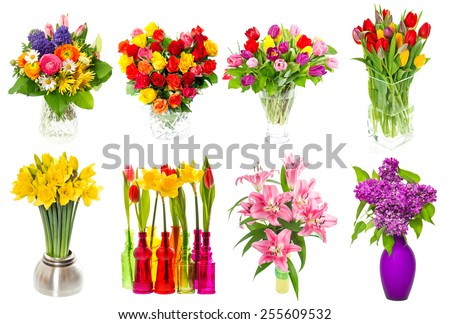 Bouquet of colorful flowers in a vase. tulips, roses, lilac, narcissus, lily blossoms over white background - stock photo