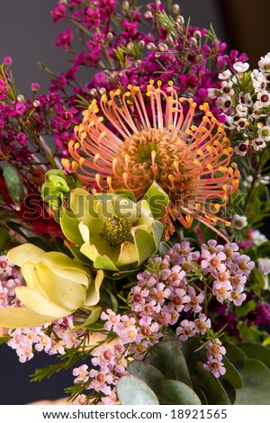bouquet of colorful fresh native australian flowers