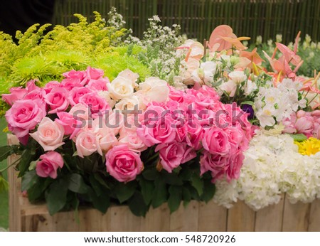 Bouquet of colorful paper flowers, stock photo
