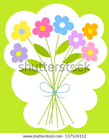 Bouquet of colorful simple flowers - stock photo