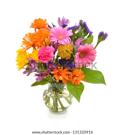 Bouquet of Dahlia flowers in vase - stock photo