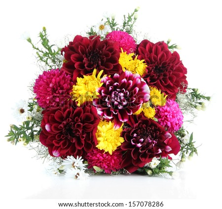 Bouquet of dahlia flowers, isolated on white