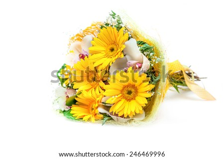 Bouquet of different flowers isolated on white - stock photo