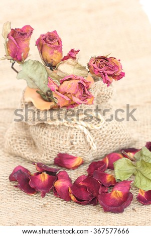 Bouquet of dried withered roses and petals on sackcloth background. - stock photo