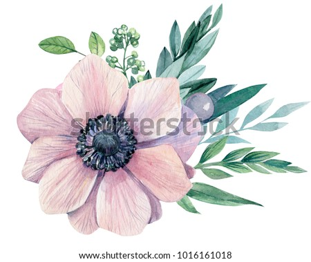 Bouquet flowers light pink anemone leaves stock illustration bouquet of flowers a light pink anemone and leaves watercolor painting hand drawing mightylinksfo