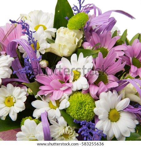 Bouquet of flowers: chamomile, gerbera, Lily, spring bouquet, beautiful flowers isolated on white background close up