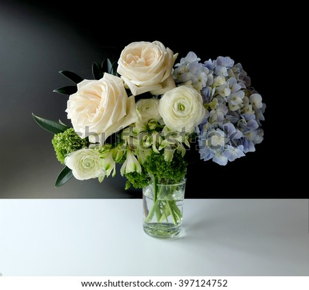 Bouquet of flowers isolated,rose,white Ranunculus,Hydrangea