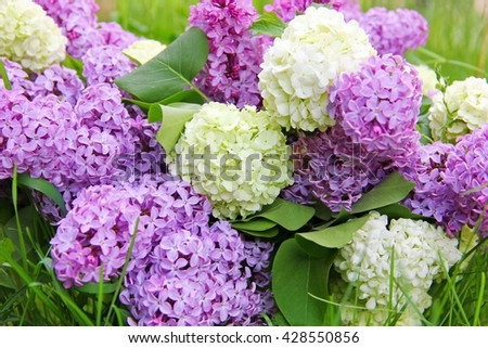 bouquet of flowers lilac and viburnum decorative