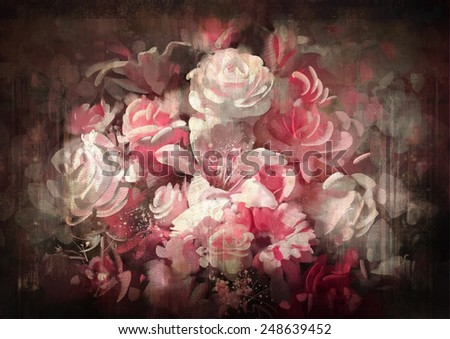 Bouquet of flowers old painting style.digital painting - stock photo