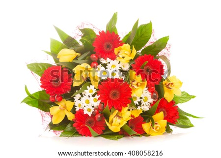 bouquet of flowers on a white background isolated