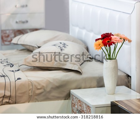 Bouquet of flowers on the table - stock photo