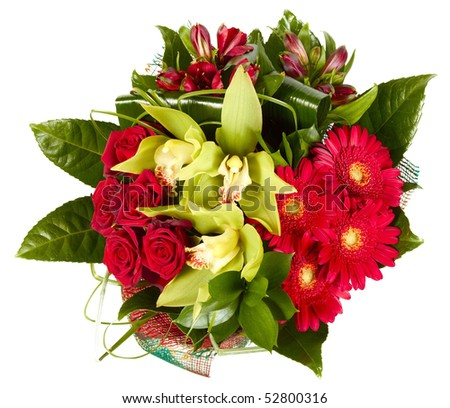Bouquet of flowers on white background - stock photo