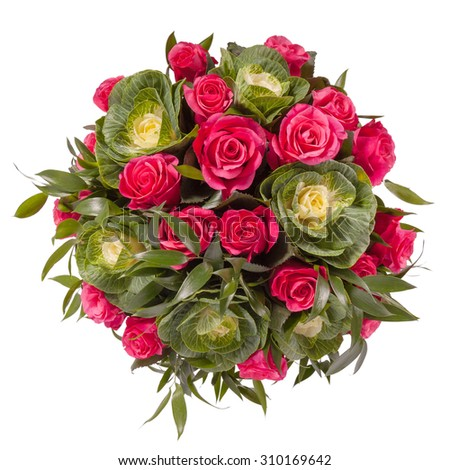 Bouquet of flowers top view isolated on white. - stock photo