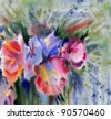 Bouquet of flowers. Watercolor painting - stock photo