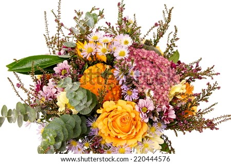 Bouquet of flowers with autumn decoration on isolated background - stock photo