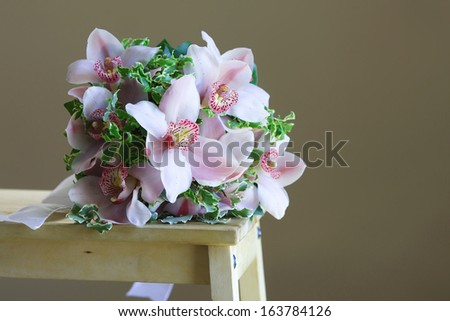 bouquet of flowers with brown background - stock photo