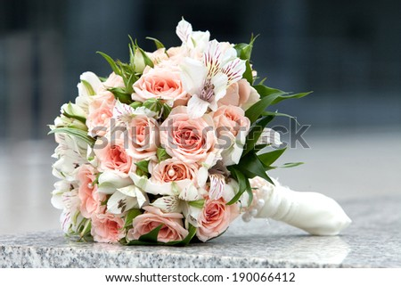 Bouquet of fresh flowers for the wedding ceremony. - stock photo