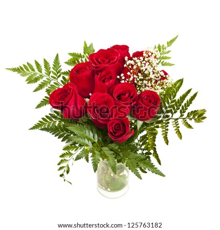 Bouquet of fresh red roses in a vase isolated on white background - stock photo