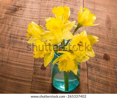 Bouquet of fresh yellow daffodil flowers in a blue mason jar - stock photo