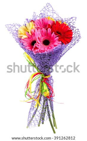 bouquet of gerberas, isolated on white background - stock photo