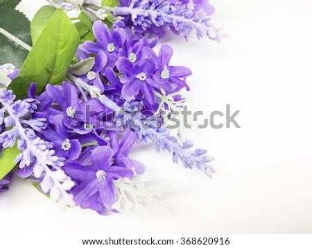 Bouquet of Lavender plastic flower and purple textile lilac spring flowers - stock photo