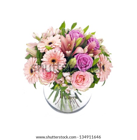 bouquet of lilias and roses isolated on white - stock photo