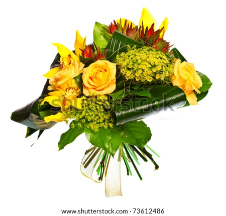 bouquet of lilias, roses and gerberas isolated over white background - stock photo