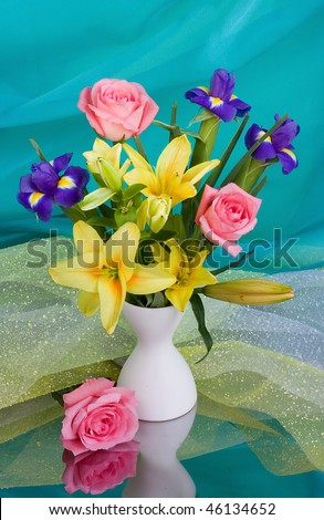Bouquet of lilies with roses - stock photo