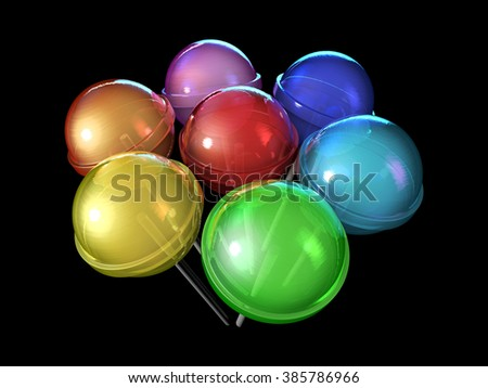 Bouquet of lollipops. Candies on stick in a circle isolated on black background. Seven colors of the rainbow. The colors of the spectrum. - stock photo