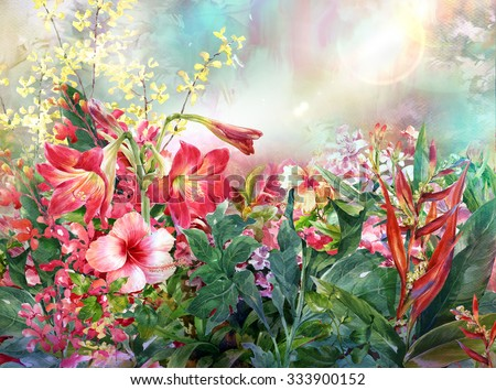Bouquet of multicolored flowers watercolor painting style.digital painting - stock photo