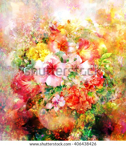Bouquet of multicolored flowers watercolor painting style.digital painting