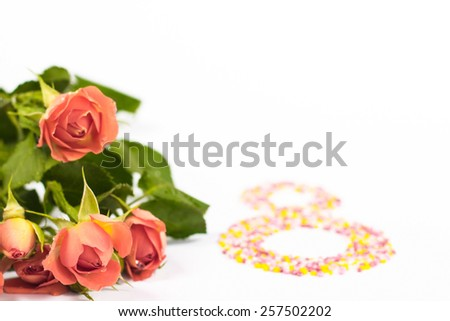 bouquet of orange roses on a holiday Women's Day - stock photo