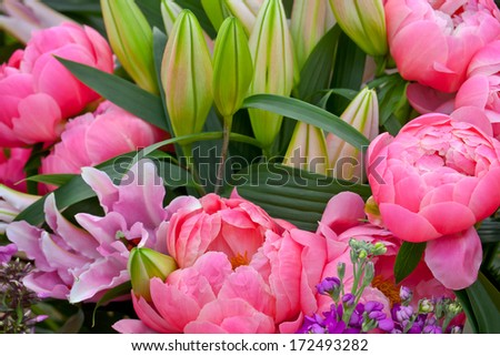 Bouquet of peonies, lilies and phloxes. Floral pattern. Close-up. Abstract background.  - stock photo
